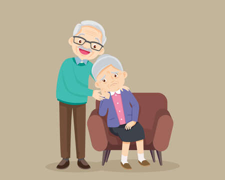 Sad elderly woman Bored, Sad Senior woman sitting and Senior man comforting upset her,Grandfather consoling Grandmother. Ilustracja