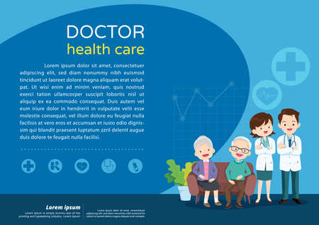 Elderly care concept ,Doctor and elderly healthcare background poster.Doctor for Elderly patients Banner
