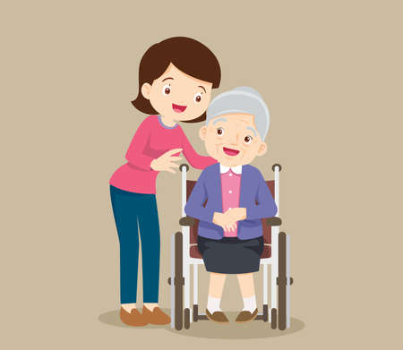 elderly woman sit in a wheelchair and the daughter tenderly puts hands on her shoulders. Daughter cares for mother. Careful caregiver taking care of the patient