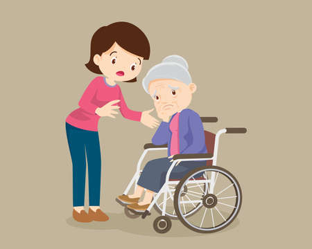 elderly are sad ,woman consoling,sad elderly woman Bored,daughter consoling Senior woman sitting alone on wheelchair.Careful caregiver taking care of the patient 向量圖像