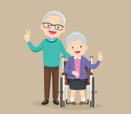 elderly woman sit in a wheelchair and the old man tenderly puts hands on her shoulders. Couple of elderly people. Grandpa near grandmother in a wheelchair. Vector illustration in a flat style