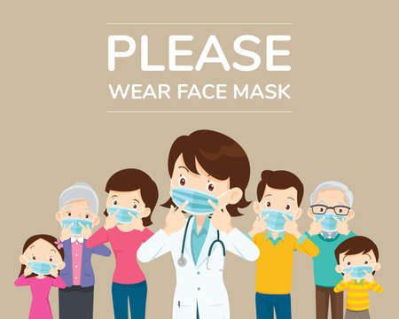Doctors and family members Dad, Mom, Girl, Boy Campaign Please wear a face mask for media, poster, cover, banner. Ilustrace