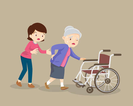 Women helping the elderly patients to wheelchair,The daughter helped her mother go to the wheelchair. Illustration
