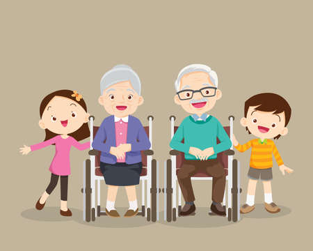 grandparents sitting on wheelchair with grandchildren . Little boy, teenager girl and happy elderly be happy on wheel chair,grandparents and grandchildren.