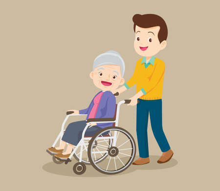 Young man strolling with elderly woman in wheelchair, nursing care for disabled people and elderly concept. Elderly on a walker needs medical care