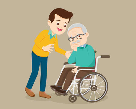 elderly man sit in a wheelchair and the son tenderly puts hands on him shoulders. Man cares for father.Careful caregiver taking care of the patient. man consoling Grandfather
