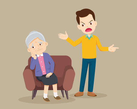 Angry man scold to sad elderly. Aggressive man screams at a scared elderly woman. Stop domesic abuse.Family violence and aggression concept.