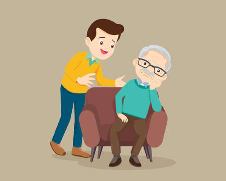 Sad elderly man Bored, Sad Senior man sitting and man comforting upset him ,father consoling Grandfather Vettoriali