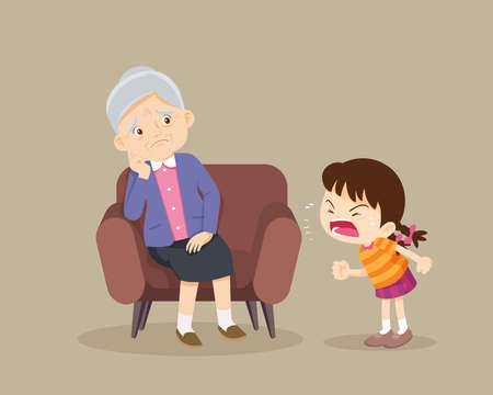 Angry girl scold to sad elderly. Aggressive kid screams at a scared elderly woman. Stop domesic abuse.Family violence and aggression concept.grandchild scold to grandmother.