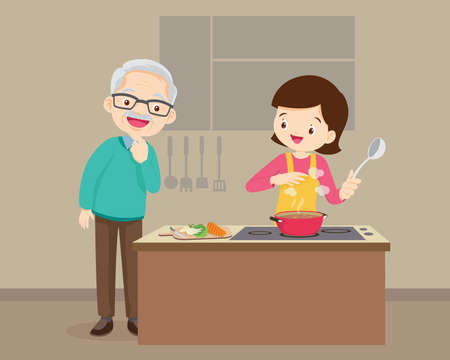 happy family with Grandparent and mother cooking in kitchen,Elderly looking woman cooking Ilustración de vector