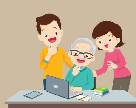 adult online education concept using a family on a laptop computer at home,man and woman teaching elderly man using a laptop computer
