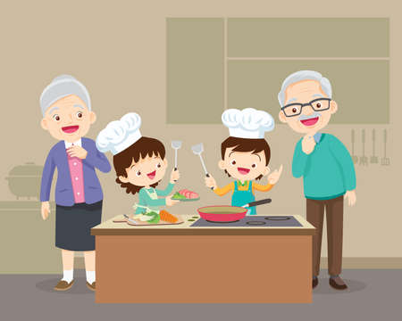 lovely grandparent with grandchild boy and girl cooking in kitchen,happy family with Grandparent and grandchild cooking in kitchen,teach grandchild cooking