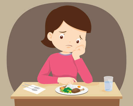 Woman Bored with food, Mother don't want to eat. bored eating
