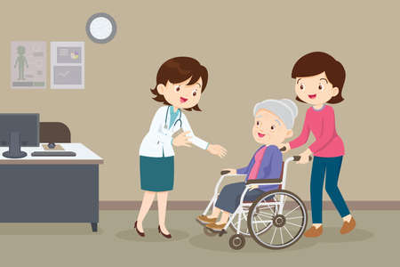 Doctor and elderly woman in wheel chair,Doctor Checking Up on Her Wheel chaired Patient. Woman take grandmother on wheelchair see doctor