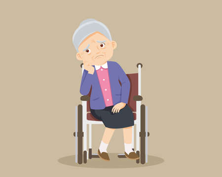 Sad elderly woman Bored, Sad Senior woman sitting in a wheelchair. Alone old woman thinking about problem. grandmother patient