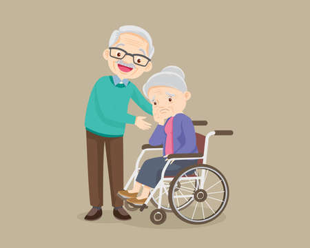 elderly woman sit in a wheelchair and elderly man tenderly puts hands on her shoulders. grandfather cares for grandmother. Oldman taking care consoling Old woman