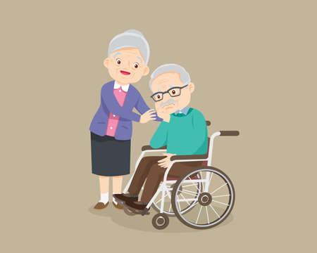 elderly man sit in a wheelchair and elderly woman tenderly puts hands on her shoulders. grandmother cares for grandfather . Old woman taking care consoling Old man