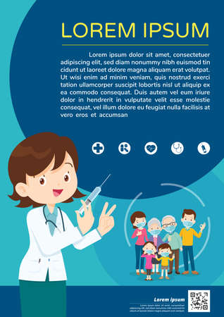 Doctor Holding Syringe with vaccine and family wearing protective Medical mask for prevent virus.Dad Mom Daughter Son wearing a surgical mask. injection Vaccination concept. Ilustração Vetorial