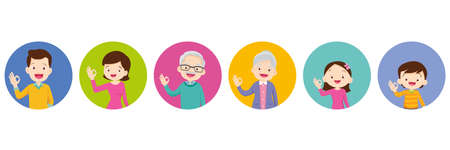 happy family and kids showing okay sign gesture.Grandfather Grandmother dad mom Daughter son smile standing and okay hand gesture.