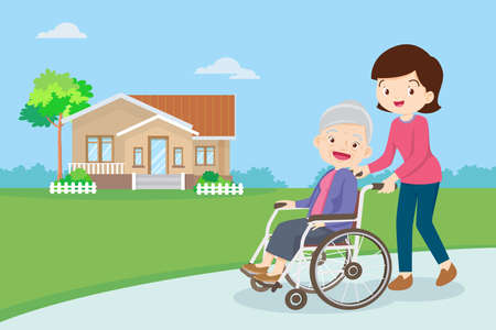 Young woman strolling with elderly woman in wheelchair, nursing care for disabled people and elderly concept. Elderly on a walker needs medical care