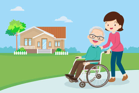 Young woman strolling with elderly man in wheelchair, nursing care for disabled people and elderly concept. Elderly on a walker needs medical care