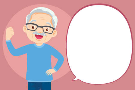 Strong elderly man Surrounded by Immunity Field Protecting Him and Speech Bubble. Good Health Concept.