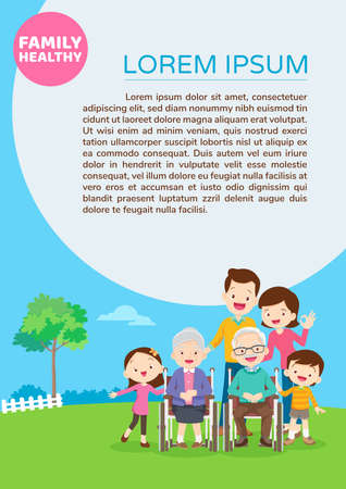 Big family together in the park.happy elderly be happy on wheel chair with parents.poster template.