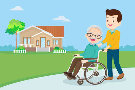 Young man strolling with elderly man in wheelchair, nursing care for disabled people and elderly concept. Elderly on a walker needs medical care
