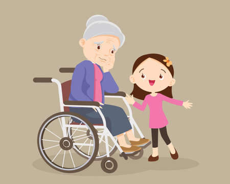 elderly are sad, the child consoling, sad elderly woman Bored, Girl consoling Senior woman sitting alone on wheelchair. Careful caregiver taking care of the patient. Child Girl and grandmother Иллюстрация