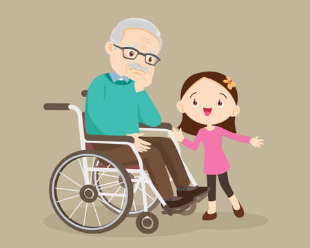 elderly are sad, the child consoling, sad elderly man Bored, Girl consoling Senior man sitting alone on wheelchair. Careful caregiver taking care of the patient. Child Girl and grandfather