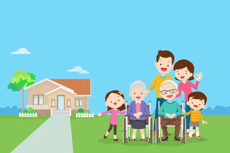 Happy family in the background of his home. Big family together in the park.happy elderly be happy on wheelchair with parents. Иллюстрация
