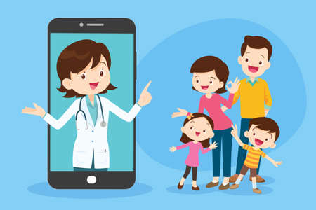 Mobile App Family Doctor. Family Using Mobile Application, Control Health Indicators, Consult Online Doctor, Sign up Appointment Therapist. Healthcare services