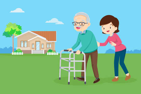 Young woman taking care of an elderly man. Woman Caring for Grandfather. daughter helps her father walking with walker in the front yard.