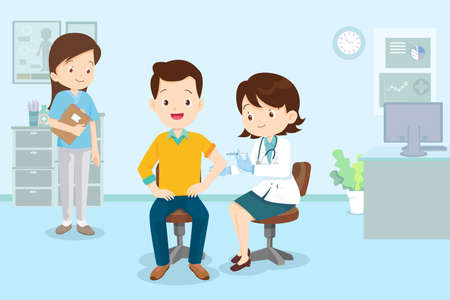 doctor injection vaccine for man, doctor in a clinic giving a coronavirus vaccine to man.Doctor Successful covid-19 vaccination for people.