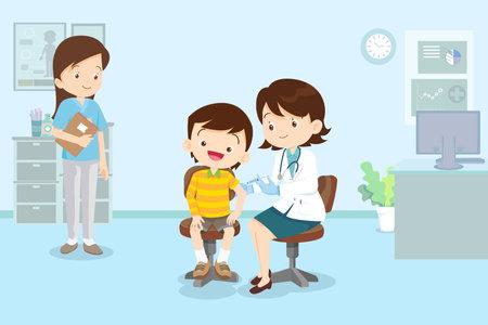 doctor Preventive vaccination for children boy.Children vaccination concept for immunity health.