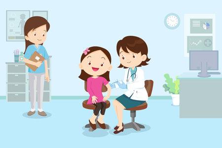 doctor Preventive vaccination for children girl.Children vaccination concept for immunity health. Иллюстрация