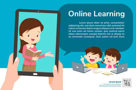children online learning tablet concept ,Learning technology ,E-learning online education and remote study concept template Иллюстрация