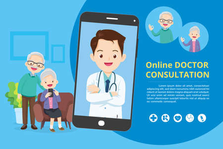 Elderly with Modern medicine and healthcare system support.Smartphone with doctor on call holding meds.Online medical consultation concept