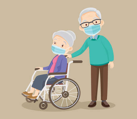 elderly woman wearing Medical mask sit in a wheelchair and the old man stand near. Couple of elderly people. Grandpa near grandmother in wheelchair.