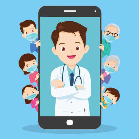 Family with Mobile App Family Doctor. Family Using Mobile Application, Control Health Indicators, Consult Online Doctor, Sign up Appointment Therapist. Healthcare services