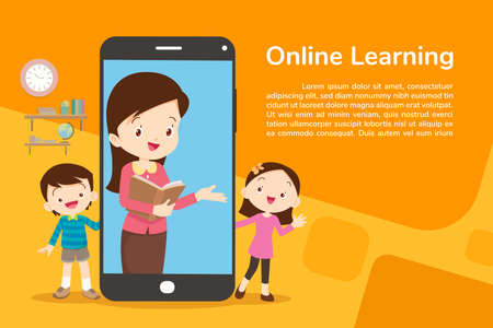 Families using mobile applications, family and online media, shopping, communication, video calls, education Иллюстрация