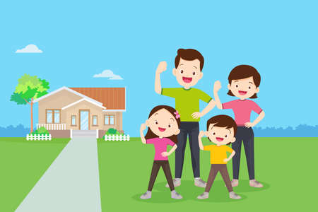 family Exercise together with them house background.Strong family Surrounded by Immunity.Healthy family concept.