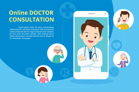 Family with Modern medicine and healthcare system support.Smartphone with doctor on call holding meds.Online medical consultation concept Иллюстрация
