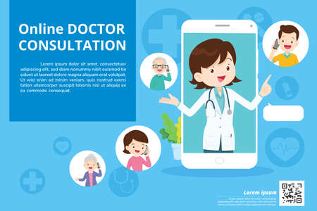 Modern medicine and healthcare system support.Smartphone with doctor on call holding meds.Online medical consultation concept