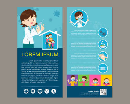 Doctor Holding Syringe with Covid vaccine and family wearing protective Medical mask for prevent virus.Dad Mom Daughter Son wearing a surgical mask. injection Vaccination concept.template for print