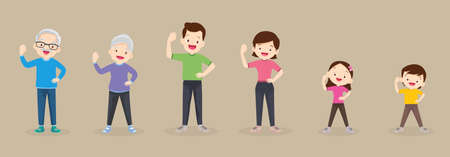 big family strong arm Poses exercising together For Good Health ,Grandfather, grandmother, father, mother, daughter, son   Exercise together Happily and vigorously