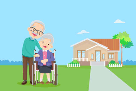 old couple in the background of his home.Elderly together in Front of home. happy elderly be happy on wheelchair.Caring for the elderly Иллюстрация