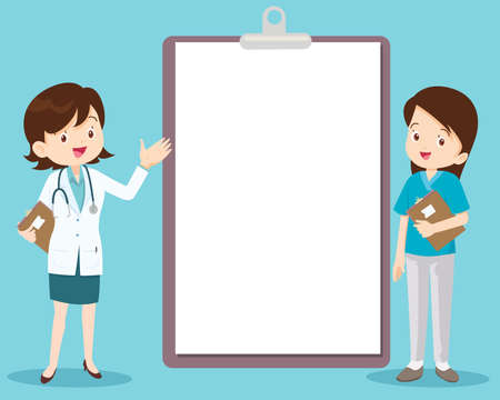 doctor and nurse standing next to information board the can place your text ,Doctor with medical report on clipboard