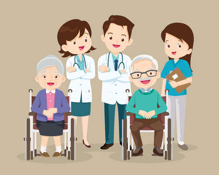 Elderly sit on a wheelchair with doctor take care.disabled person in the wheelchair and doctors. Careful caregiver taking care of the patient.Doctor and grandfather grandmother Иллюстрация