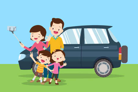 Happy family Making Selfie in the background of them car. family together in the park.